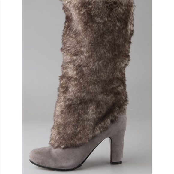 Sam Edelman Shoes - SAM EDELMAN GREY SUEDE FUR HEELED BOOT